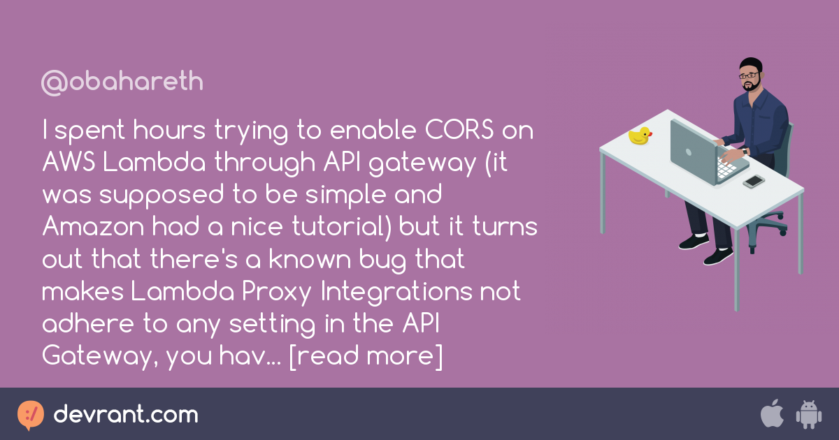 bug - I spent hours trying to enable CORS on AWS Lambda