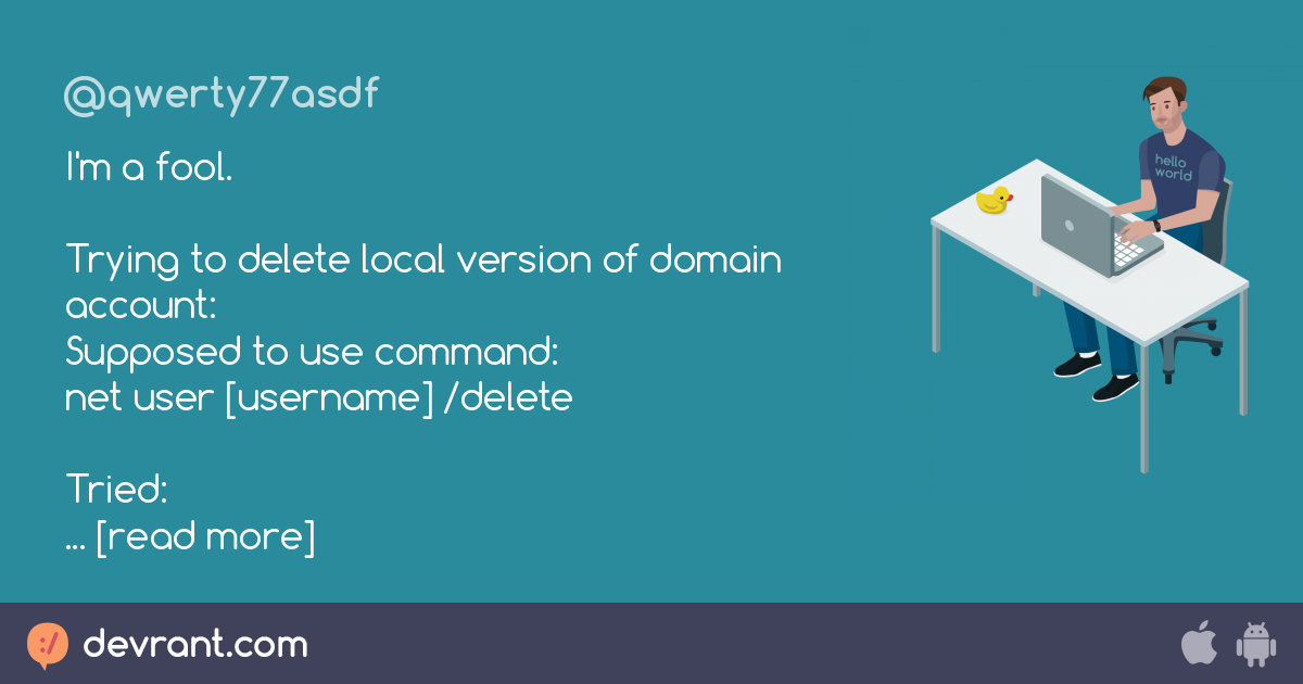 fool - I'm a fool  Trying to delete local version of domain