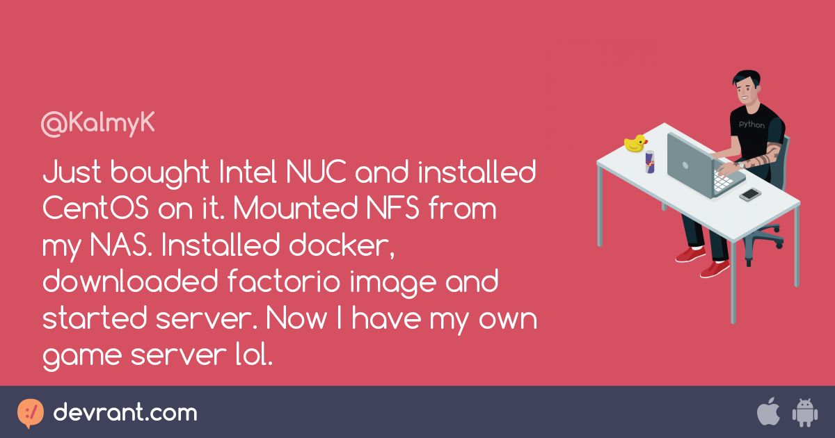 factorio - Just bought Intel NUC and installed CentOS on it  Mounted
