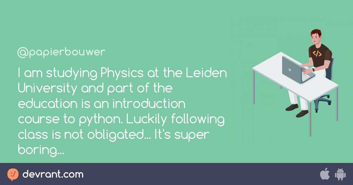 inleiding programmeermethoden - I am studying Physics at the